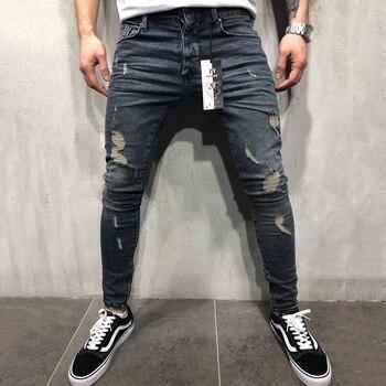 Mens Jeans Fashion 2019 Ripped Skinny Jeans Men Hip Hop Jean Pants Brand Male Slim Denim Trousers Streetwear Calça Masculina D25