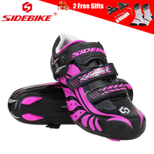 SIDEBIKE Professional Womens Road Bike Shoes with Nylon Sole Breathable Cycling Bicycle Racing Hook Loop