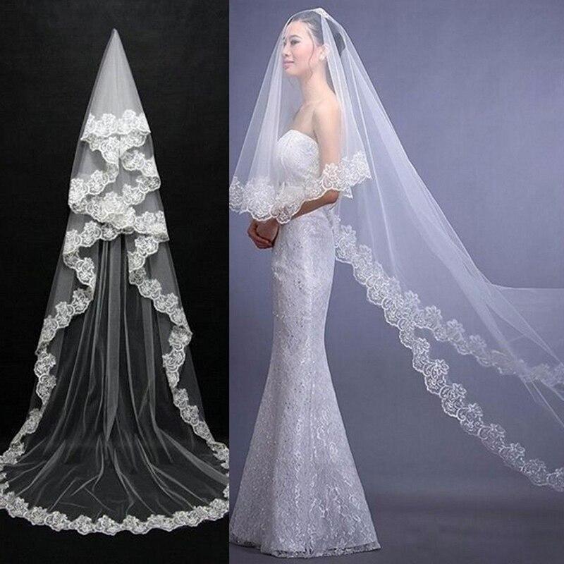 Однослойная кружевная белая вуаль 2,6 м, свадебная вуаль, Длинная свадебная вуаль для свадьбы, дешевые свадебные аксессуары, Свадебный вуаль ...