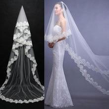 Véu de noiva 2.6m, véu de noiva branco com uma camada de solda, acessório barato para casamento