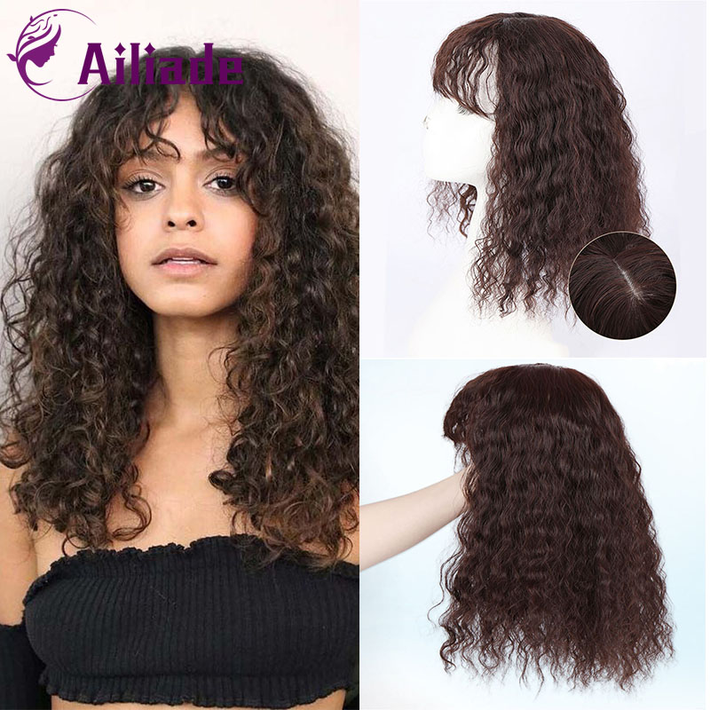 AILIADE Simulation Human Hair Black Brown Synthetic Natural Clip Bangs Closure Women Toupees Kinky Curly Hair Topper Hairpieces