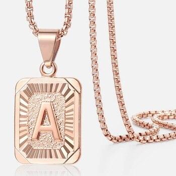 Carré lettres collier or Rose couleur hommes femmes A B C breloque initiale pendentif en acier inoxydable chaîne mode bijoux cadeaux GPM12