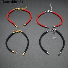 Красный/черный цвет, толщина 2,5 мм, плетеный шнур с застежками-карабинами, РАСШИРИТЕЛЬ ЦЕПИ, подходит для браслетов, изготовление ювелирных изделий, 20 шт./лот