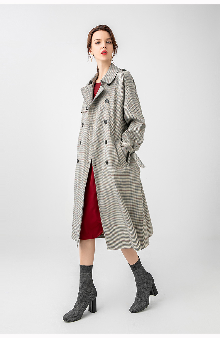 Had02b4b3b1094f488f647b3dcb47b0f7Z Net red houndstooth plaid windbreaker jacket female spring and autumn Korean style mid-length popular double-breasted coat trend