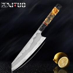 XITUO 8 pulgadas cuchillo de Chef de cocina 7 capas compuesto 440C acero profesional japonés cuchillo cuchilla rebanadora Gyuto manija octogonal