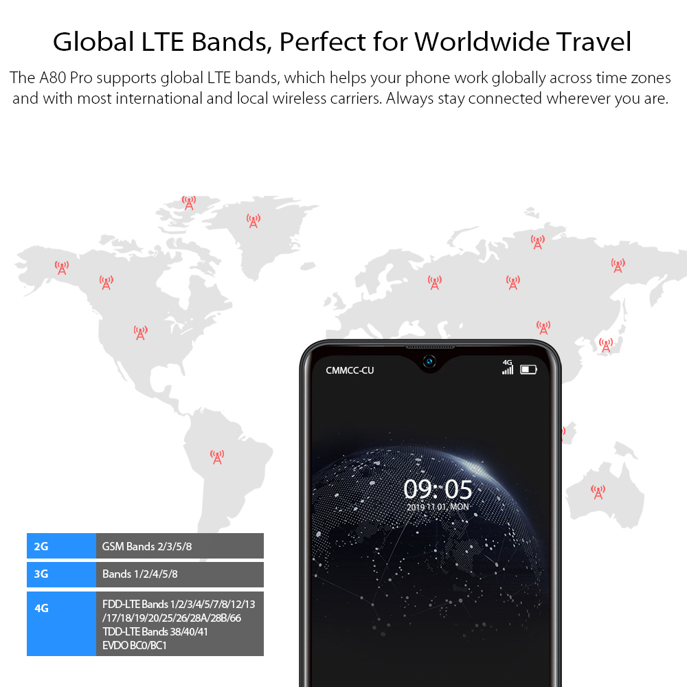 Blackview A80 Pro Global Version Quad Camera Mobile Phone 6.49'' Waterdrop 4GB+64GB Octa Core Android 9.0 4680mAh Cellphone