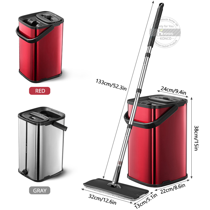Elettrico ricaricabile Rotary Mop 360 gradi di Rotazione Senza Fili Floor Cleaner Scrubber Lucidatore di Pulizia di Microfiber Mop per la Casa - 2