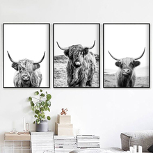 Highland Cow Animal Canvas Painting Vintage Posters and Prints Black White Wall Pictures for Living Room Farmhouse Home Decor
