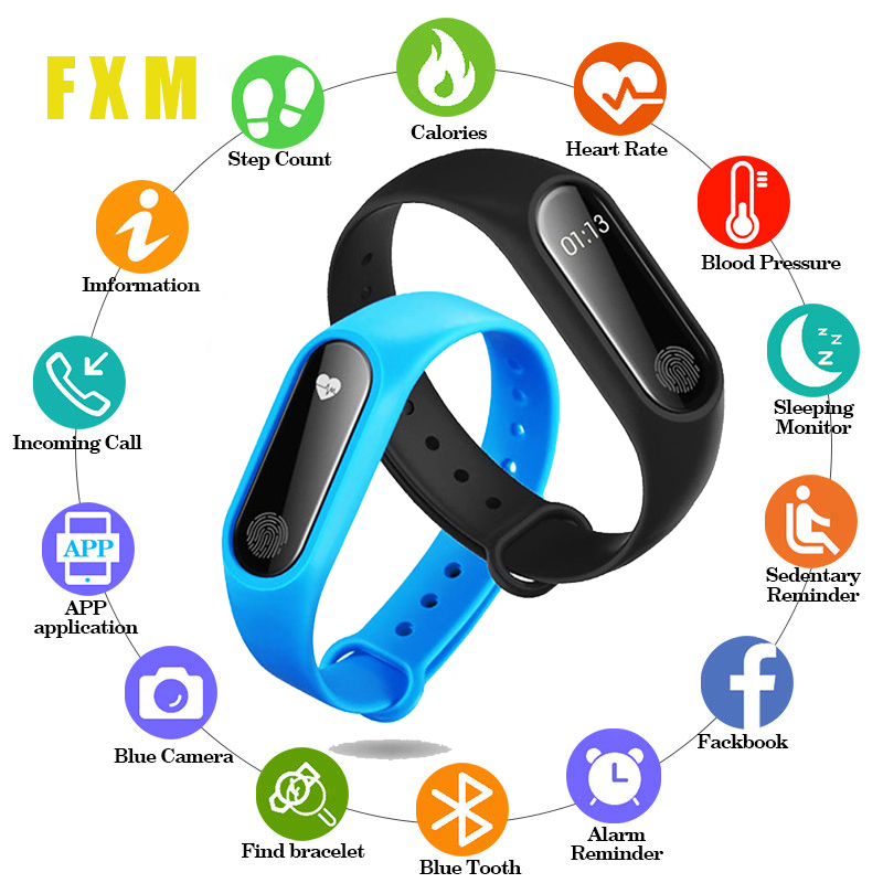 M2 Smart Fashion Sports Watch Fitness Running Tracker Bracelet Step Blood Pressure Monitor With For Man Woman Child + Strap