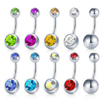 14G Short Belly Button Rings for Women Body Curved Barbell Dangle Body Piercing Set Navel Bar Rings CZ  -Tone 6mm 8mm 10mm 1