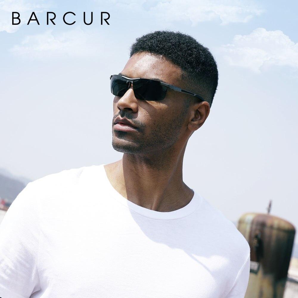 Мужские поляризованные солнцезащитные очки BARCUR, спортивные очки для ночного вождения
