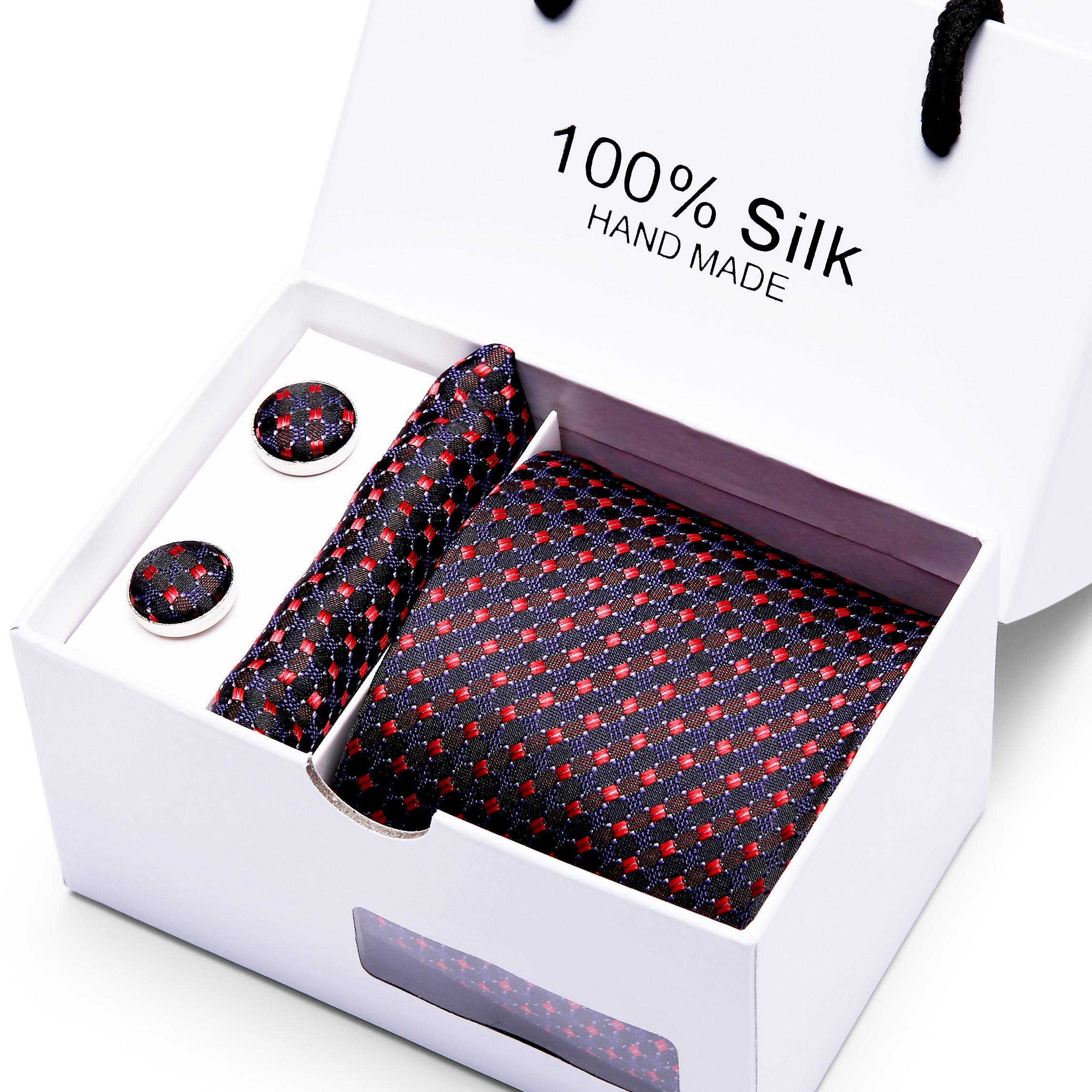 Classic Necktie Set 3 Pcs Men  Plaid Tie Gift Set For Wedding Party7.5cm  Jacquard Woven White Box