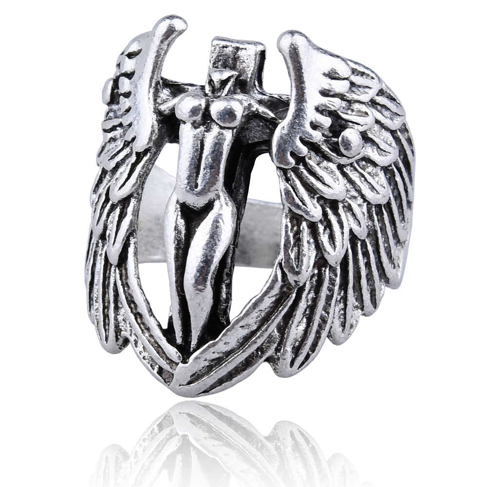 Free Fan Angel Wings Punk Men's Ring Vintage Goddess of Justice Cross Rings For Men Anel Anillos Viking Jewelry Gift