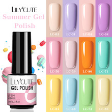LILYCUTE 7ML Spring Summer Bright Color UV Gel Nail Polish Semi Permanent UV Nail Gel Soak Off Nail Art Led Nail Painting Gel