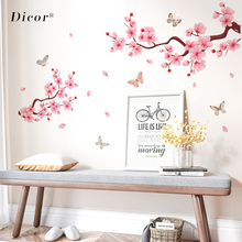 2019 New PVC Wall Stickers Pink Peach Blossom Chinese Style Decal For Home Interior Butterflies Decor Romantic DIY Poster