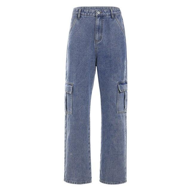 Купить брюки карго женские в корейском стиле свободные джинсы бойфренды картинки цена