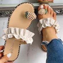 Bohemian Women Girls Pearl Flat Sandals Summer Fashion Ladies Cloth Patchwork Slippers Beach Shoes sandales femmes été nouveau
