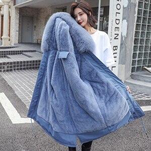 Image 2 - Fitaylor hiver femmes veste épais chaud coton manteau grand col de fourrure à capuche Parkas fausse fourrure de lapin noir rose neige Outwear