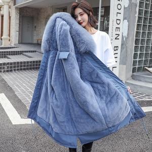 Image 2 - Fitaylor zima kobiety kurtka gruba ciepła bawełna płaszcz duże futro kołnierz z kapturem parki Faux futra królika czarny różowy śnieg znosić