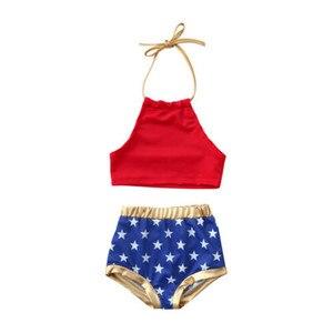 2020 nowe letnie dzieci dziewczynka 4th of July Bikini Set śliczne nadruk gwiazdy 2 sztuk strój kąpielowy garnitur 1 do 6Y