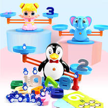 Math Match Game Board Toys Penguin Cat Match Balancing Scale Number Balance Game Kids Educational Toy to Learn add and subtract toy math board games for adults russian learning resources homeschool kids tiny toys educational penguin