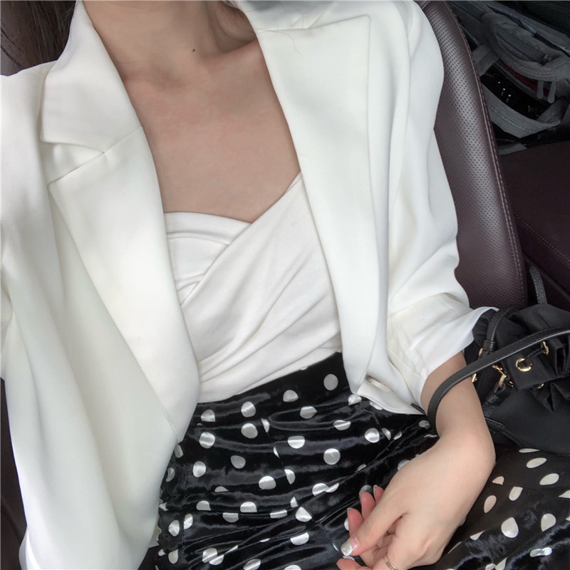 Stylish Casual Ladies Blazer Solid White Simple Loose Suit Jacket Blazer Cuadros Mujer Korean Spring Party Women Blazer MM60NXZ