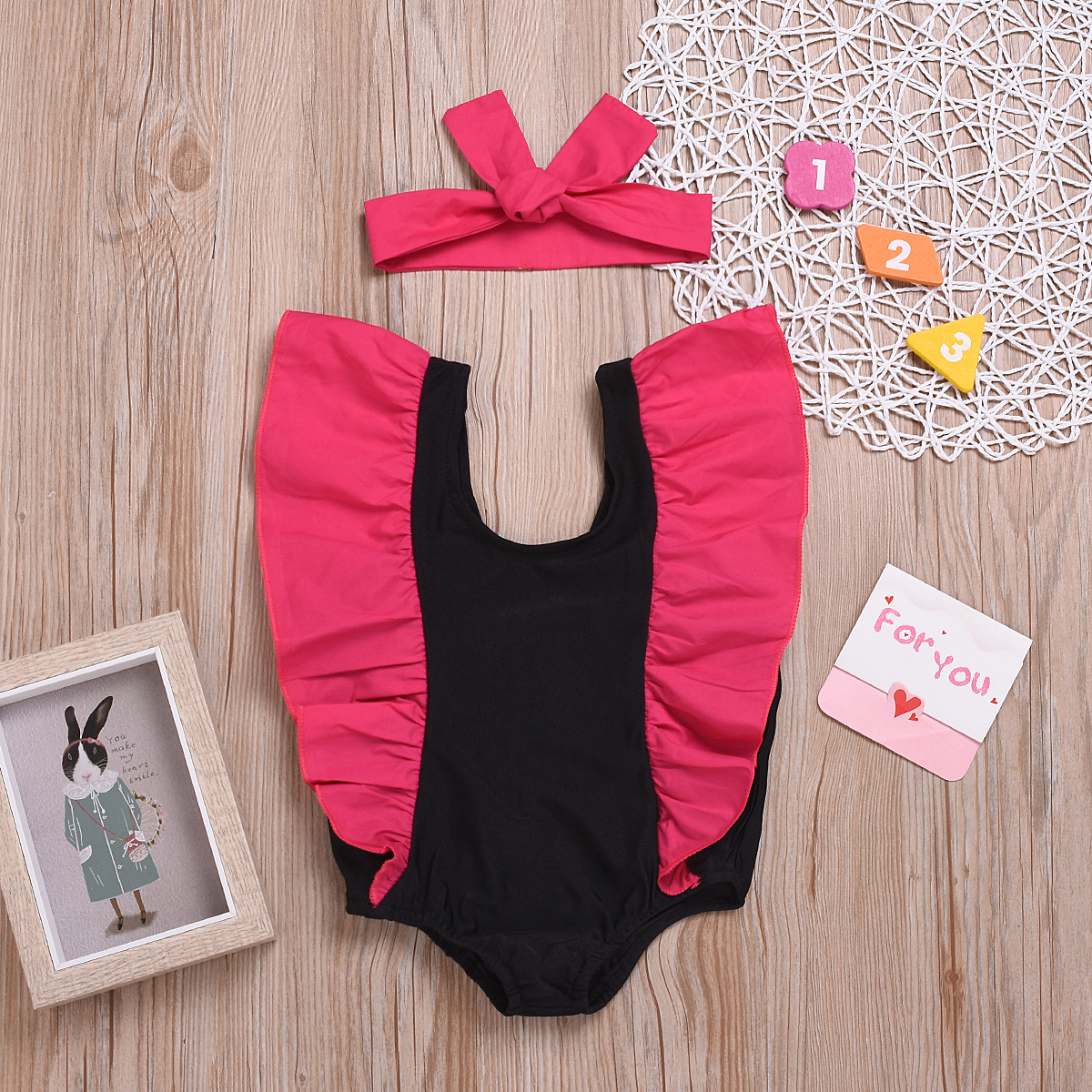 Girl'S Swimsuit Two-Piece Set Sleeveless Backless Trend KID'S Swimwear Stitching Like Clothing Headscarf Fashion
