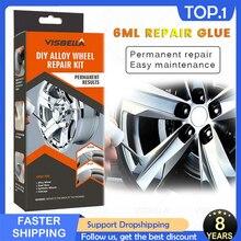 Visbella diy liga roda kits de reparo adesivo geral prata aro do carro auto dent zero superfície danos pintura cuidados ferramentas reparo