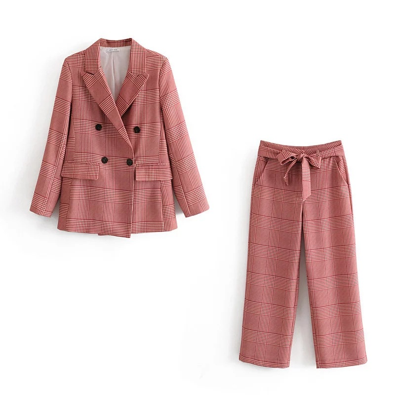 Fashion Women's Suits Skirt Suit Casual Temperament Double-breasted Plaid Jacket Female Pants Suit 2019 Autumn Women's Clothing