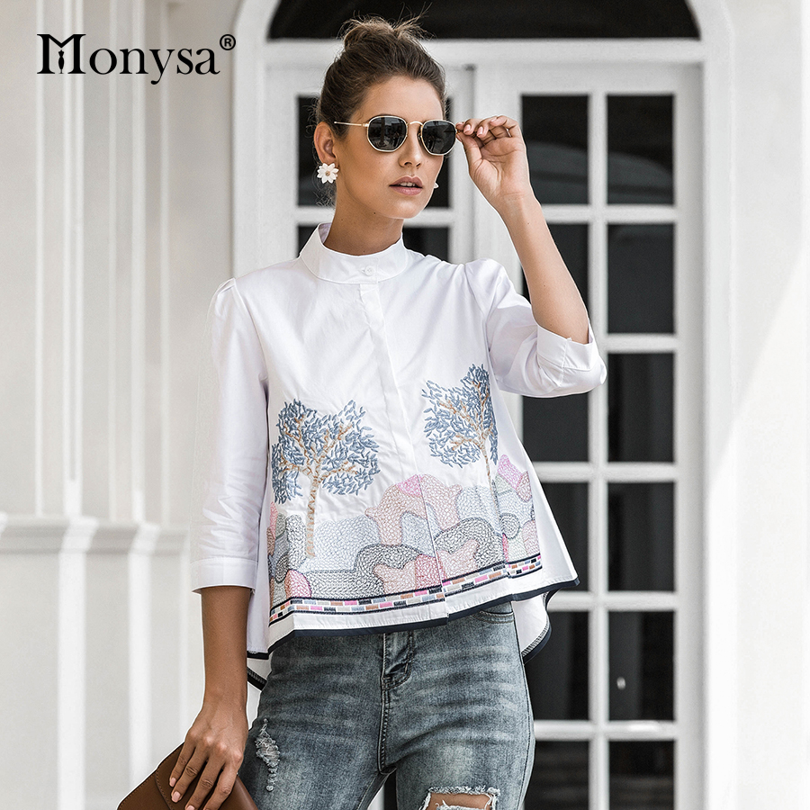 Embroidery Shirt Women Summer Autumn 2020 New Arrival Fashion 3/4 Sleeve Casual Blouses Ladies White Doll Shirt(China)