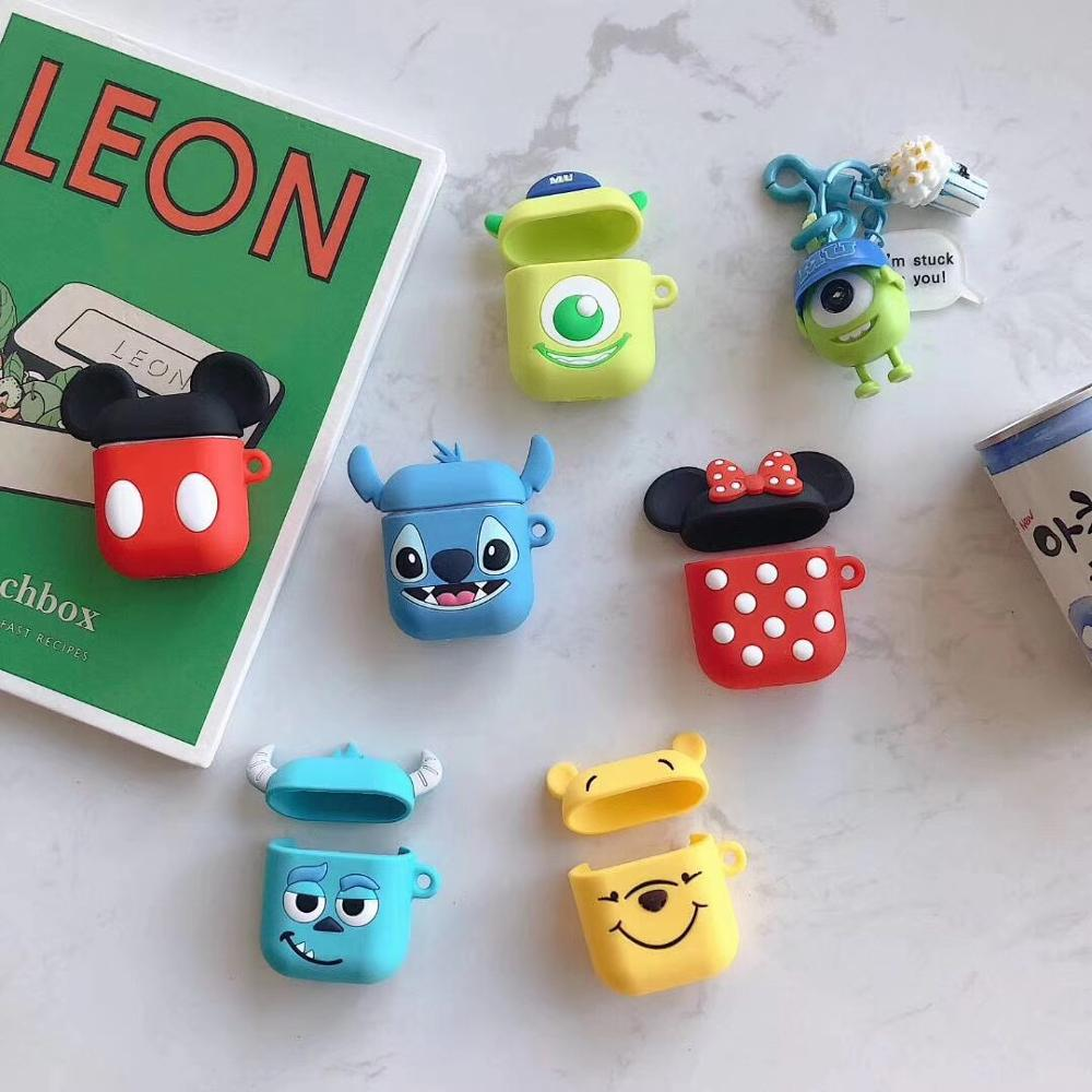 Cute Cartoon Wireless Earphone Case For Apple AirPods 2 Silicone Charging Headphones Case For Airpods Protective Cover Fundas