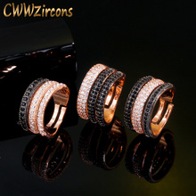 CWWZircons Adjustable Size 3 Layers Black White CZ Stone 585