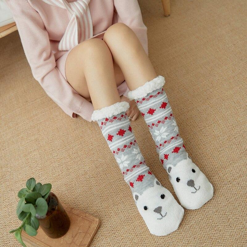 Elásticos para a Casa de Inverno Venda Quente Feminino Extra-quente Interior Meias Quentes Pés Natal lã