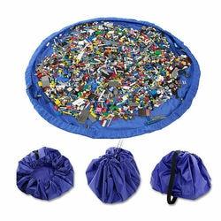 B-Portable Kids Toys Storage Bag Lego Play Mat Game Pad Practical Waterproof Portable Storage Toy Organizer Bag Folding Basket