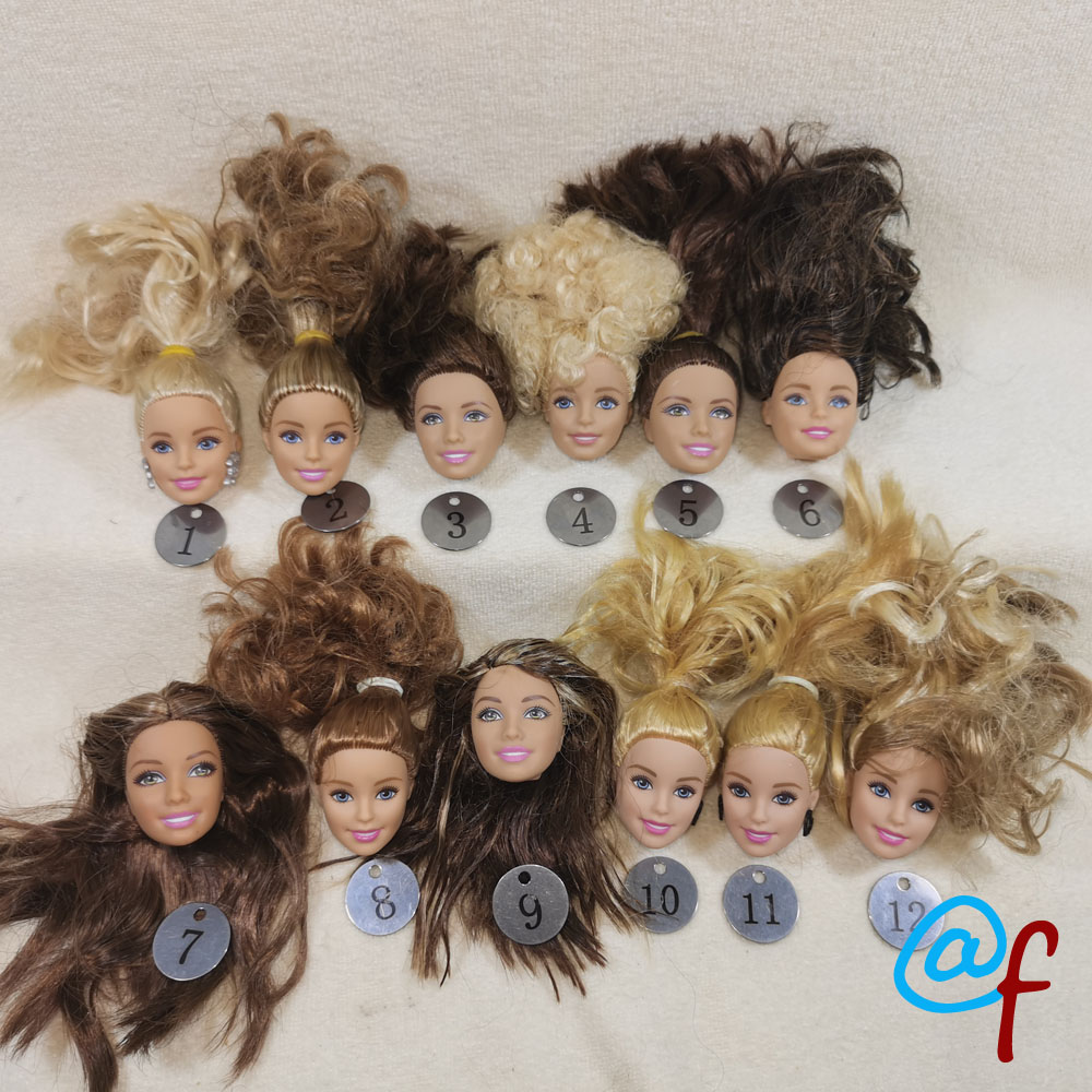 B20-9 Original Foreign Trade European Beauty1/6 OOAK NUDE Doll Head Mussed Hair For DIY Soft PVC Head  90%NEW