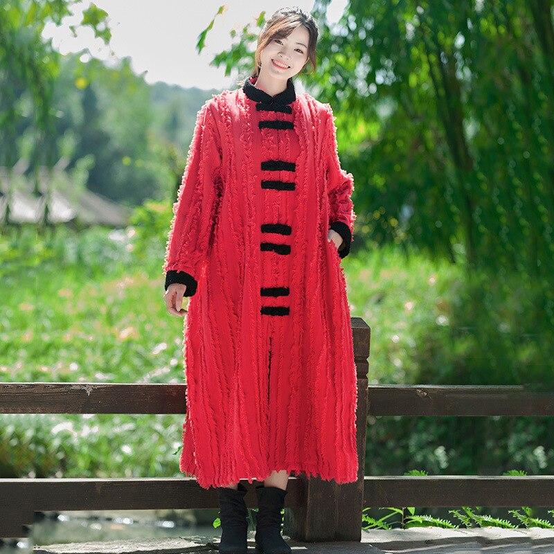 2018 hiver nouveau Style coton lin femmes robe plus velours chaud Long manteau rétro grenouille coton veste fabricants vente directe