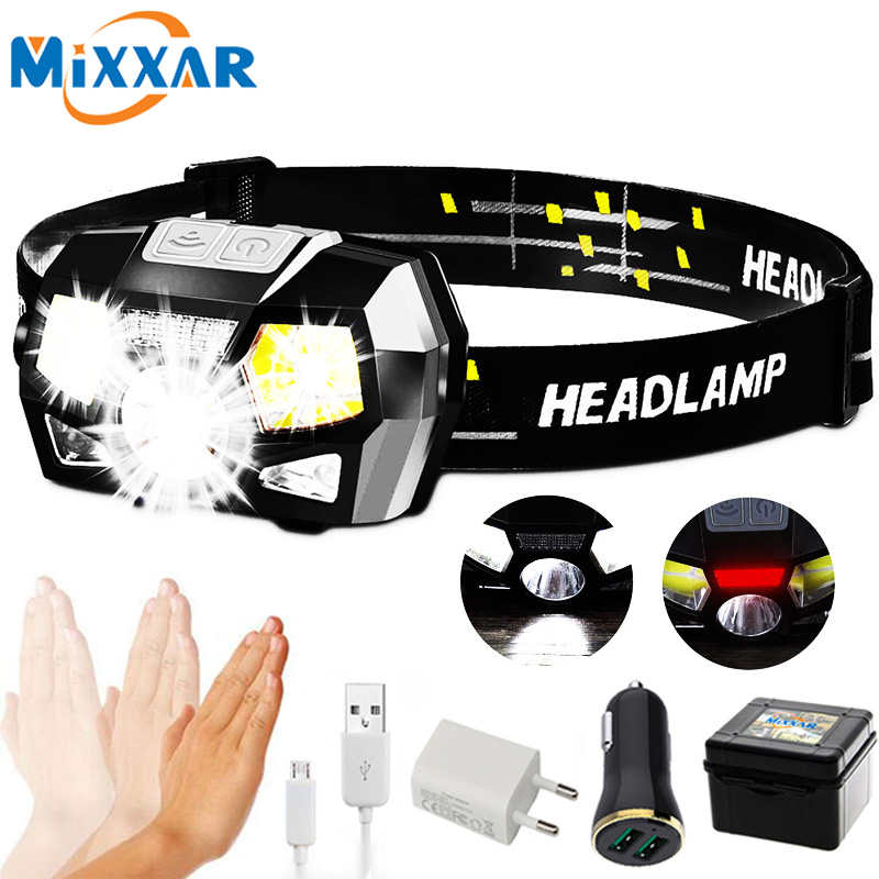 ZK20 COB LED Mini Headlamp Usb Rechargeable Headlight Red Light Headlamp-sensor Head Lamp Light Lantern Lampe Frontale