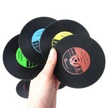 1Pc couleur aléatoire vinyle Record caboteur tasse Mat noir rétro tasse caboteur Pad résistant à la chaleur antidérapant chaud porte-boissons décor à la maison