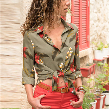 Womens Tops and Blouses Summer Floral Print Chiffon Blouse Long Sleeve Turn Down Collar Office Shirt Blusas Mujer Plus Size Blouses
