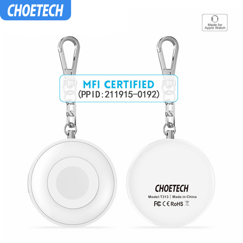 CHOETECH Qi Wireless Charger for iWatch 1 <font><b>2</b></font> 3 4 Power Bank Magnetic Charging Dock Station External Battery Chargerwith Keychain image