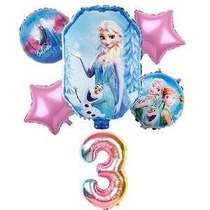 6 шт., Диснеевская Принцесса Эльза, Холодное сердце, 18 дюймов, детские надувные шары для вечеринки, надувные шары из алюминиевой фольги, декоративные шары, детские игрушки на день рождения, Globos