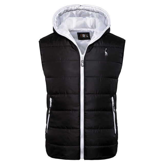 2019 New Giraffe Brand Winter Jacket Men Hoodied Vest Men Zipper Mens Jacket Sleeveless Casual Winter Waistcoat Men 4