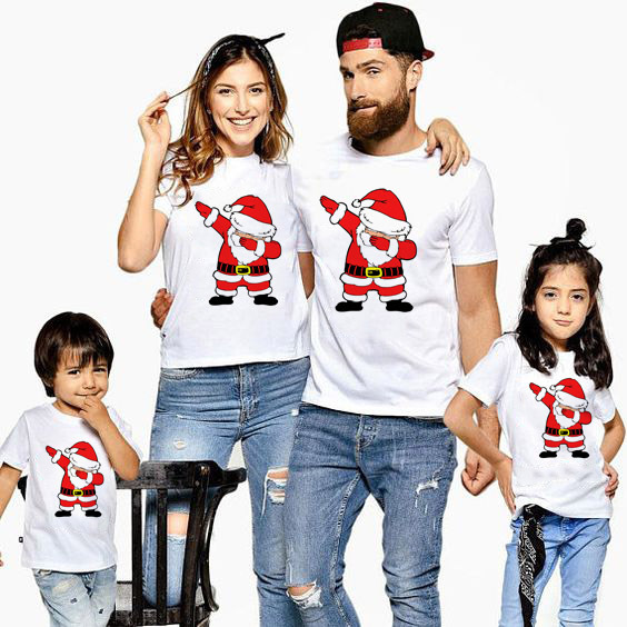 1pc Dabbing Santa Christmas Family Tshirts Boys Girls and Father Mother Christmas Dabbing Clothes Fashion Party Wear Baby Tee