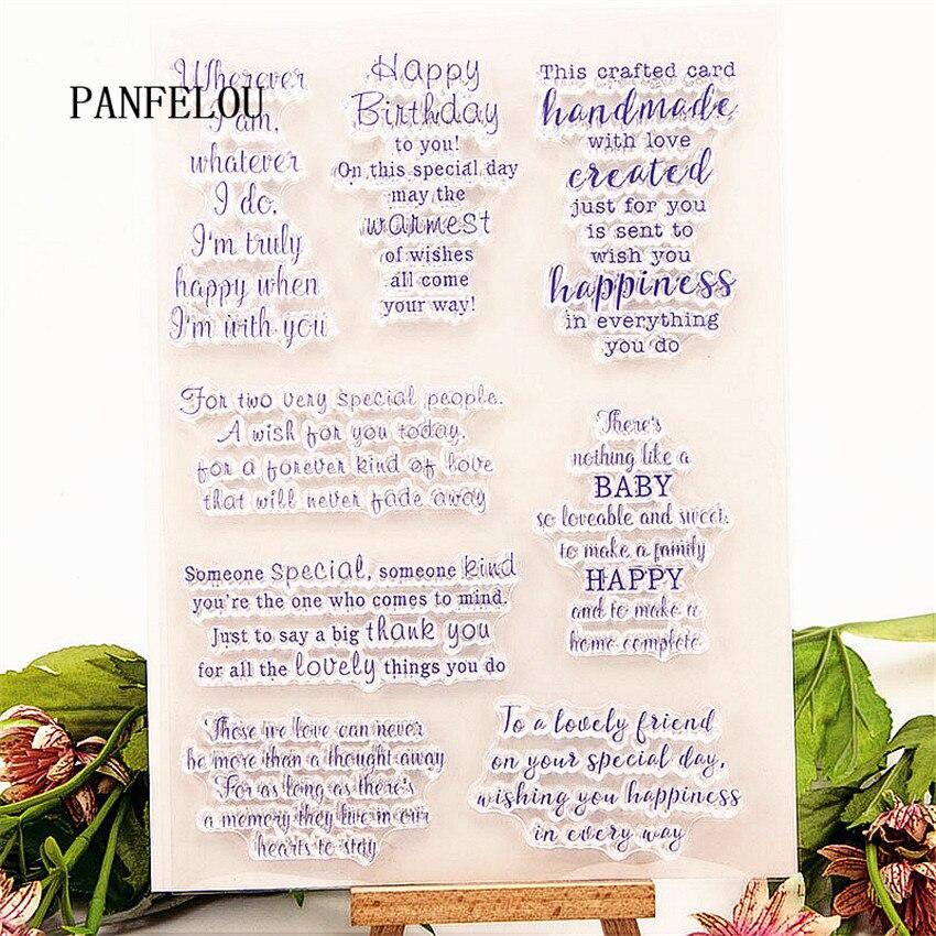 PANFELOU 15x21cm Sentiment Transparent Silicone Rubber Clear Stamps Cartoon For Scrapbooking/DIY Christmas Wedding Album