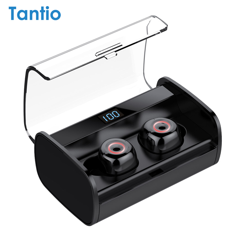 Auriculares inalámbricos Tantio T1-Plus, auriculares de ojos de gato LED con batería de 2200mAh, auricular Bluetooth de estéreo HIFI táctil resistente al agua