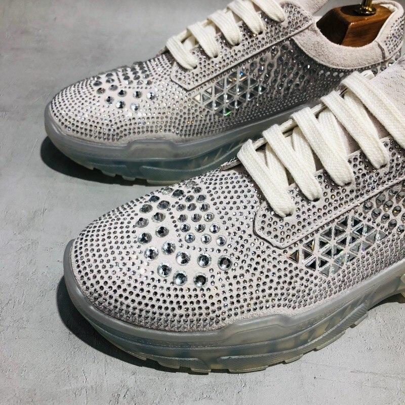 Mode hommes cristal clouté chaussures décontractées 2019 plate forme épaisse baskets haute rue Joggers formateurs à lacets chaussures en cuir brillant - 6