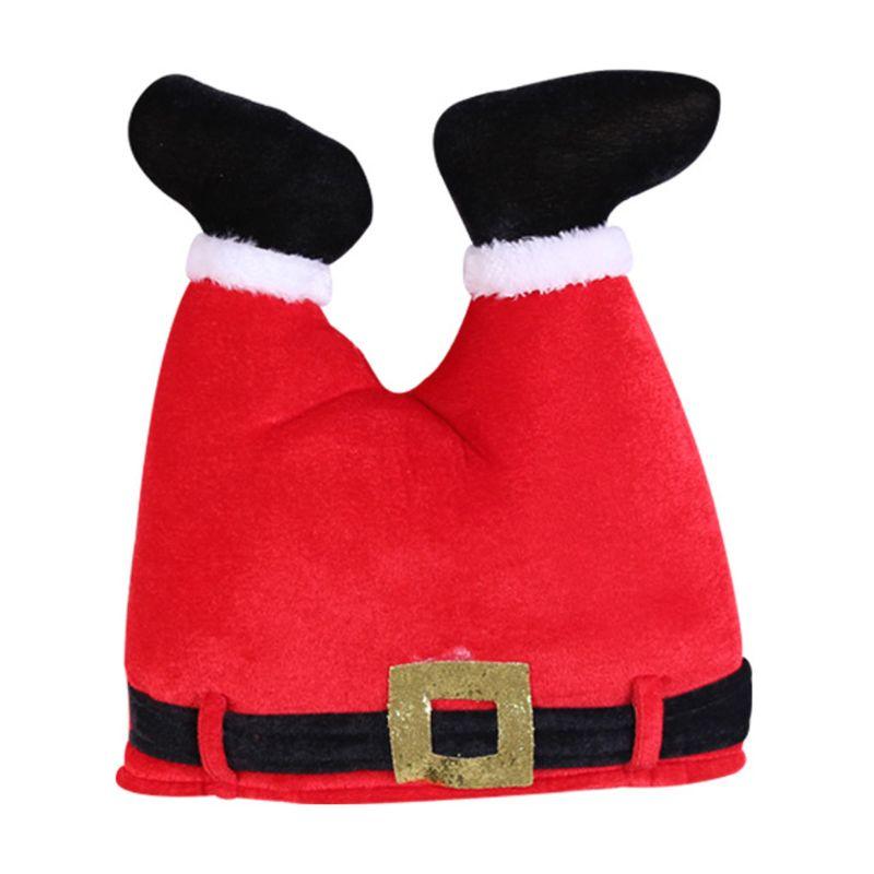 Novelty Funny 3D Christmas Santa Pants Hat Elf Upside Legs Cap Xmas Costume Prop
