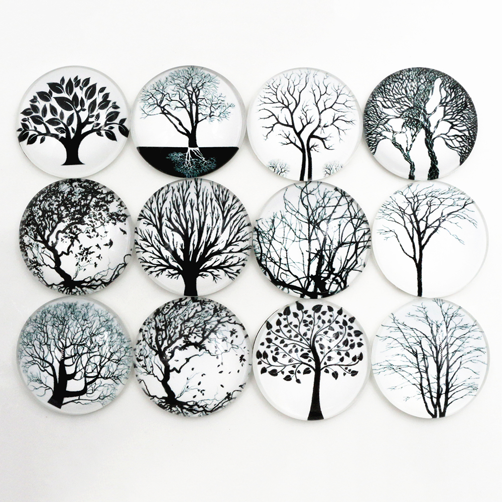 Hot Sale 10pcs 25mm New Fashion Mixed Tree Handmade Glass Cabochons Pattern Domed Jewelry Accessories Supplies