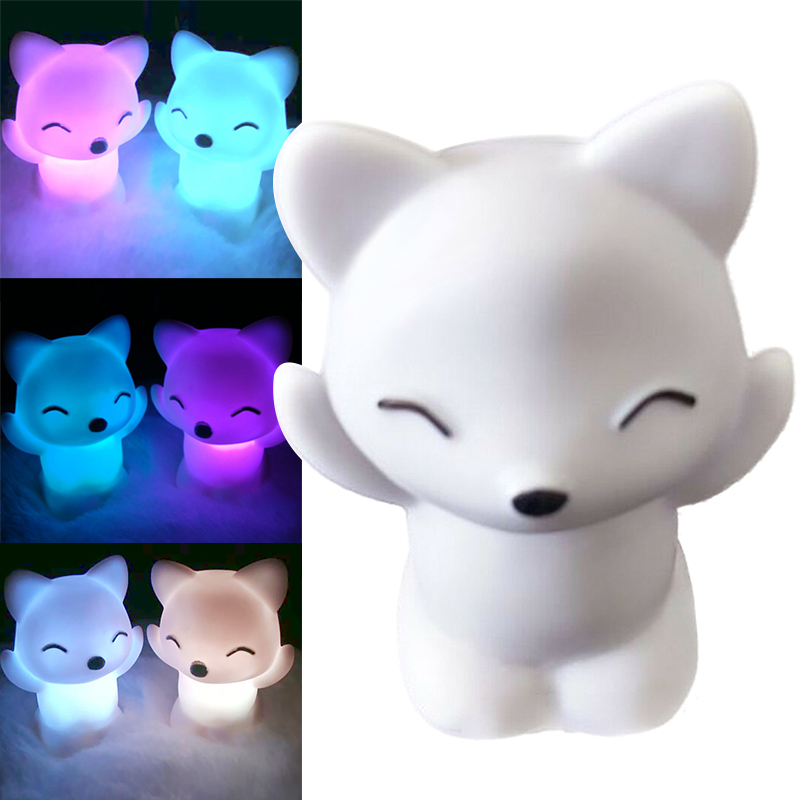 Lovely Foxes Shape LED Night Light Lamp 7 Changing Colors Energy Saving Decorations JDH99