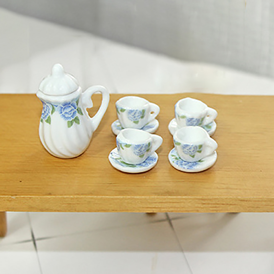 1:12 Miniature Tea Sets Dollhouse Tea Set Porcelain Tea Cups Saucers Plates Decorative Mini Tea Pot 112 Tableware Party Decor British Style
